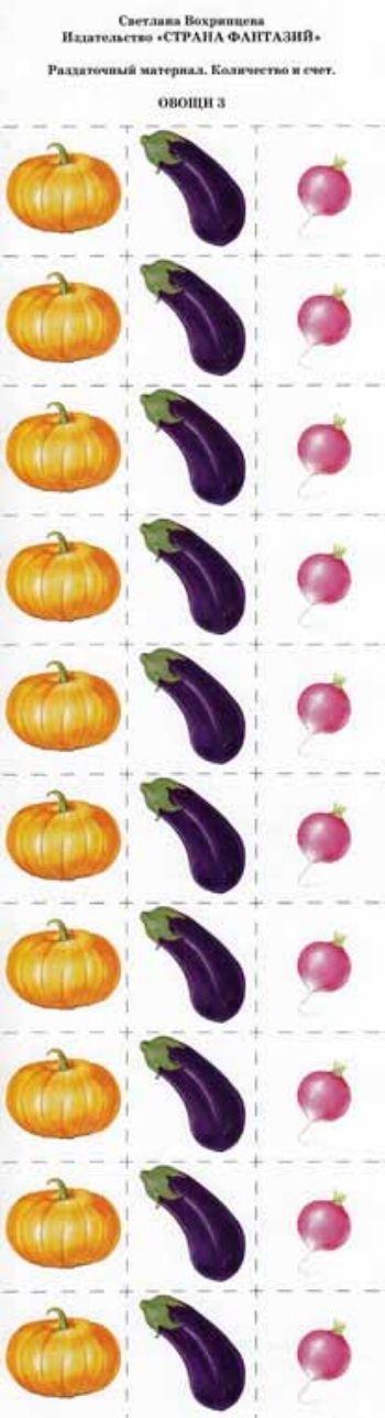Раздаточный материал. Количество и счет Овощи 3Воспитателю ДОО<br>Размер вырезанной карточки: 4х4 см.Материал: картон.<br><br>Авторы: Вохринцева С. В.<br>Год: 2012<br>Высота: 340<br>Ширина: 120<br>Толщина: 1