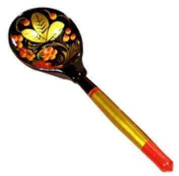 Ложка полубасская ХохломаПодарки для кухни<br>Полубасская ложка - самая популярная ложка с тонкой удобной ручкой. Подойдет и в качестве сувенира, и как полноценная ложка, т.к. покрыта пищевым лаком и разрешена к применению в качестве столового прибора.Материал: дерево.<br><br>Год: 2015<br>Высота: 150<br>Ширина: 30<br>Толщина: 10