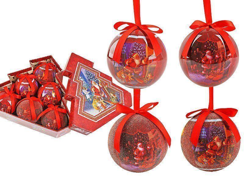 Набор елочных шаров Санта у камина, 6 шт.Сувениры<br>Набор елочных шаров Санта у камина, 3 глянцевых и 3 обсыпных шара, не бьющиеся и очень легкие, в подарочной коробке станет прекрасным новогодним украшением для всей семьи.Диаметр 75 мм.<br><br>Год: 2015<br>Высота: 230<br>Ширина: 265<br>Толщина: 80