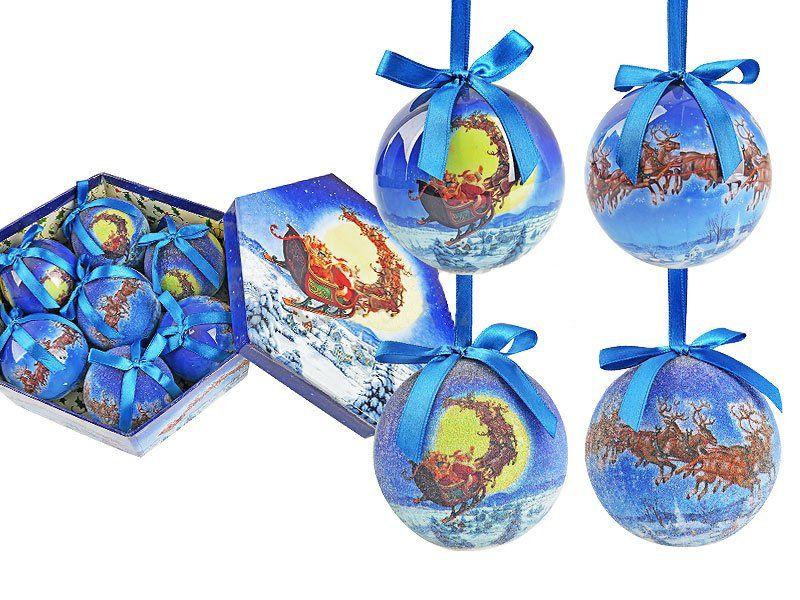 Набор елочных шаров Санта на саняхСувениры<br>Набор елочных шаров Санта на санях, 3 глянцевых и 4 обсыпных шара, не бьющиеся и очень легкие, в подарочной коробке станет прекрасным новогодним украшением для всей семьи.Диаметр 7,5 см.<br><br>Год: 2015<br>Высота: 215<br>Ширина: 250<br>Толщина: 80