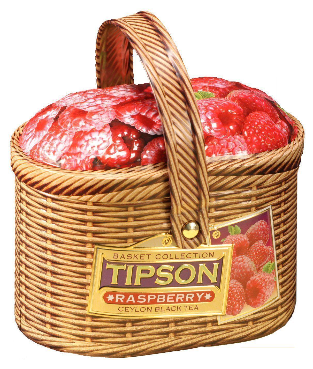 Чай Tipson. Черный Малина лукошко (100 г)Чай в подарок<br>Чай черный цейлонский байховый листовой с кусочками папайи и ароматом малины, 100 гр., ж/б.Необычный вкус чая  Tipson делает его отличным подарком к любому празднику.<br><br>Год: 2015<br>Высота: 100<br>Ширина: 180<br>Толщина: 70