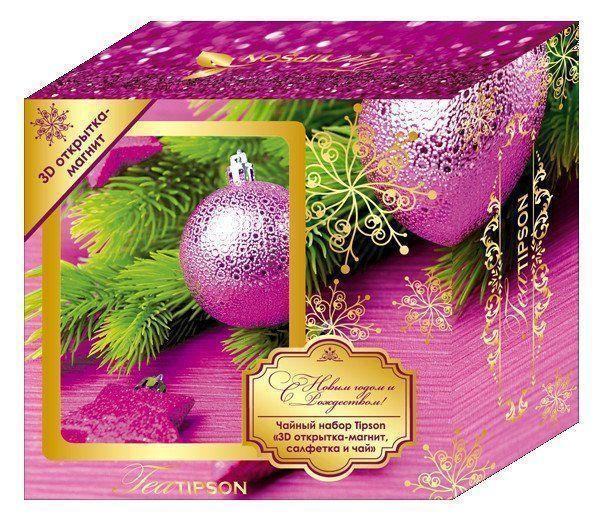 Подарочный набор Tipson Розовые шары. Черный чай Ceylon №1 с 3D-открыткой-магнитом и салфеткой для дома (50 г)Чай в подарок<br>Предлагаем вашему вниманию подарочный набор Tipson. В комплект с упаковкой традиционного чая Tipson Ceylon №1 входит очень нужная в каждом доме яркая салфетка из 100% хлопка, а также яркая, переливающаяся 3D-открытка, которую можно повесить на холодильник...<br><br>Год: 2016<br>Высота: 170<br>Ширина: 160<br>Толщина: 70