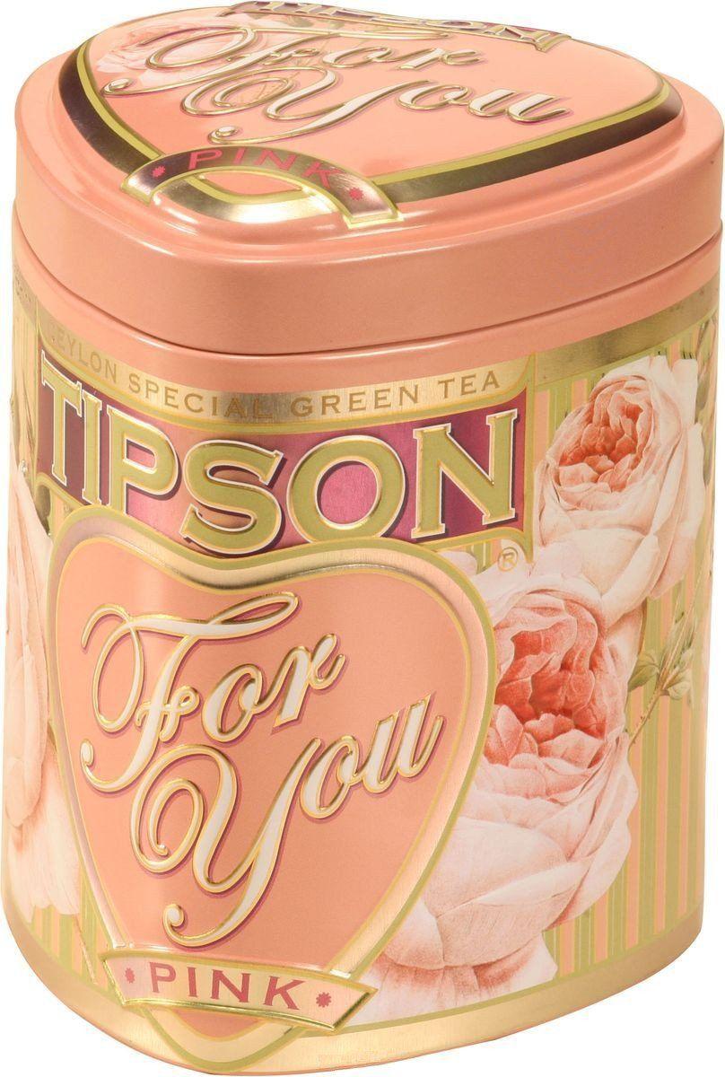 Чай Tipson. Коллекция Для тебя Pink, зеленый, ж/б (75 г)Чай в подарок<br>Чай зеленый цейлонский байховый листовой Tipson Pink с ароматом яблока.Упаковка: жестяная банка.<br><br>Год: 2016<br>Высота: 110<br>Ширина: 90<br>Толщина: 90