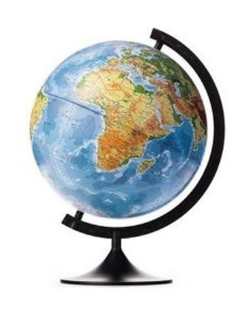 Глобус Земли, физический, 320 ммГлобусы<br>Глобус Земли станет незаменимым атрибутом обучения не только школьника, но и студента.Глобус с физической картой мира на удобной подставке, вращается вокруг собственной оси. Изготовлен из высококачественного пластика. Яркие цвета и точная картография.Диам...<br><br>Год: 2017<br>Высота: 390<br>Ширина: 320