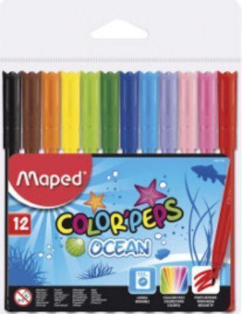 Фломастеры Maped, смываемые, 12 цв.Фломастеры, цветные карандаши, краски, гуашь<br>Фломастеры Маped с заблокированным пишущим узлом - супер смываемые.В наборе 12 цветов.<br><br>Год: 2016<br>Высота: 130<br>Ширина: 130<br>Толщина: 8