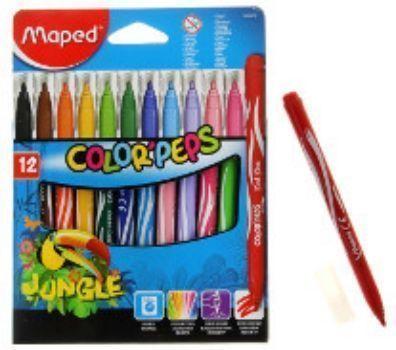 Фломастеры Maped, 12 цв.Фломастеры, цветные карандаши, краски, гуашь<br>Фломастеры смываемые, с заблокированным пишущим узлом, средний пишущий узел. В наборе 12 цветов.<br><br>Год: 2016<br>Высота: 175<br>Ширина: 135<br>Толщина: 10