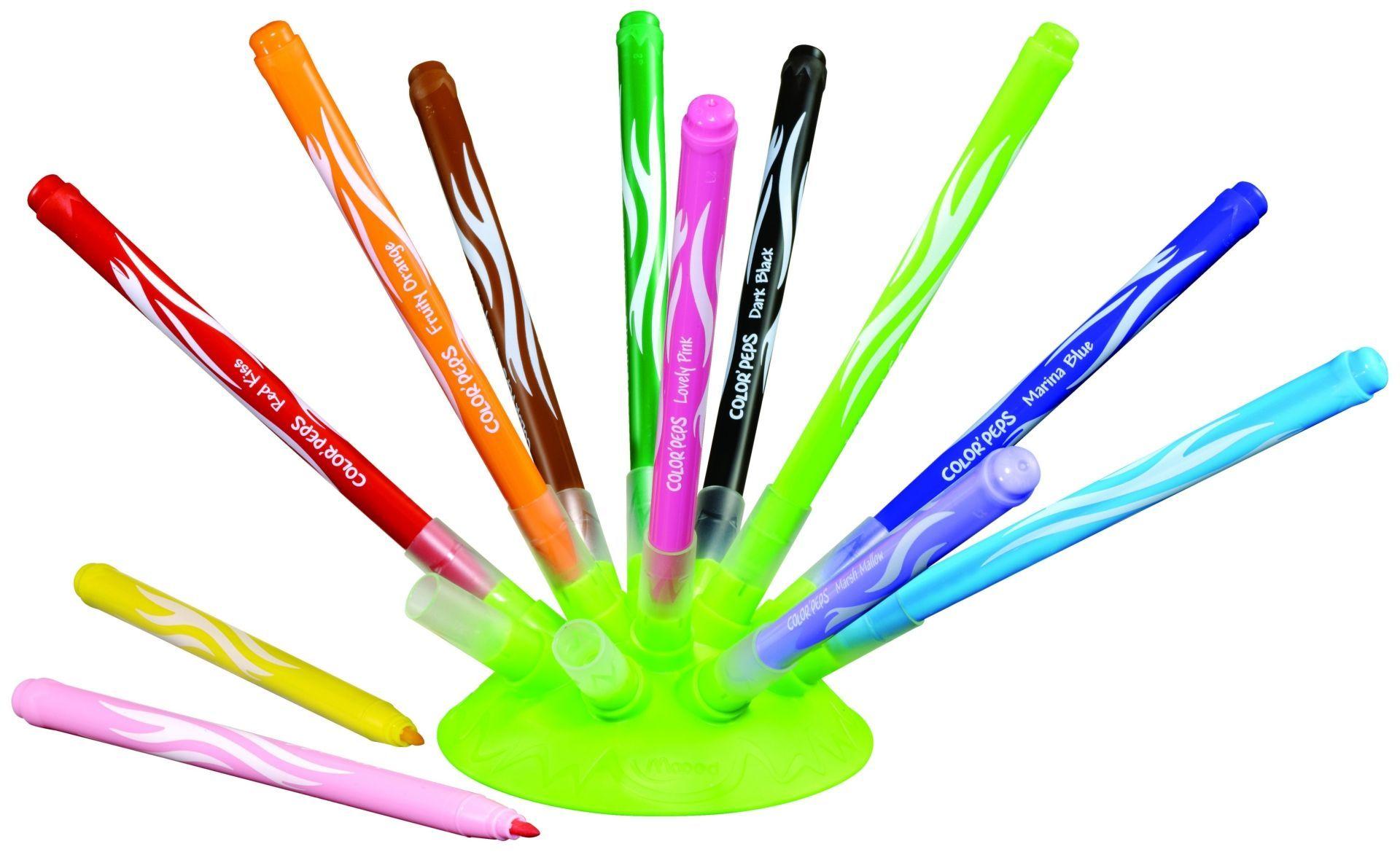 Фломастеры смываемые Maped, на подставке, 12 цв.Фломастеры, цветные карандаши, краски, гуашь<br>Фломастеры смываются практически со всех видов ткани. Имеют заблокированный средний, конусовидный стержень 2.8 мм. Набор имеет оригинальную подставку, такое решение помогает не терять колпачки, также компактно складывается при переноске. В наборе 12 цвето...<br><br>Год: 2016<br>Высота: 160<br>Ширина: 100<br>Толщина: 70