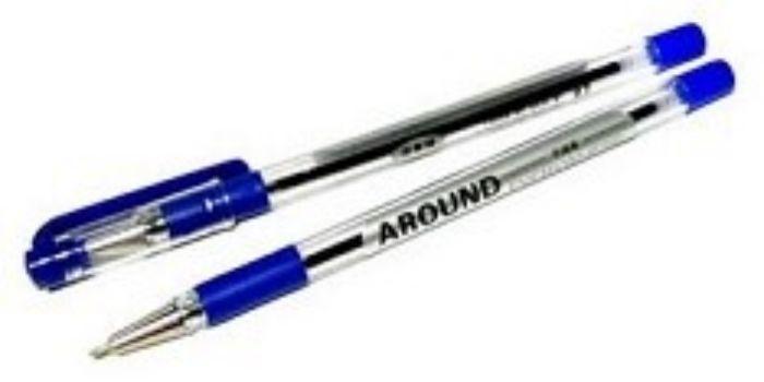 Ручка масляная, синяяРучки<br>Ручка масляная, прозрачный корпус с резиновым держателем и металлическим наконечником.Цвет: синий.<br><br>Год: 2016