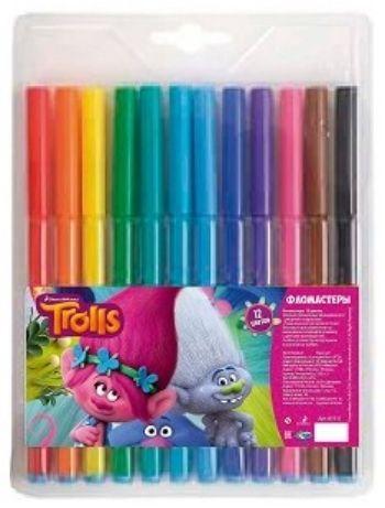 Фломастеры Тролли, 12 цв.Фломастеры, цветные карандаши, краски, гуашь<br>Фломастеры Тролли на водной основе с вентилируемым колпачком, 12 цветов.Упаковка: европодвес.<br><br>Год: 2016<br>Высота: 150<br>Ширина: 130<br>Толщина: 8