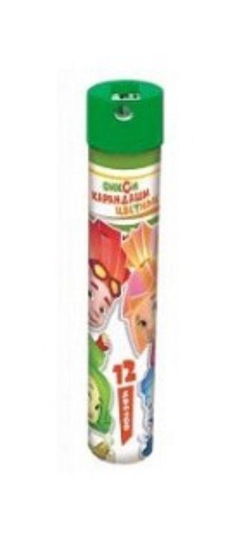 Карандаши цветные Фиксики, 12  цв.Фломастеры, цветные карандаши, краски, гуашь<br>Карандаши цветные - 12 цветов, металлический тубус + точилка.<br><br>Год: 2018<br>Высота: 200<br>Ширина: 35<br>Толщина: 35