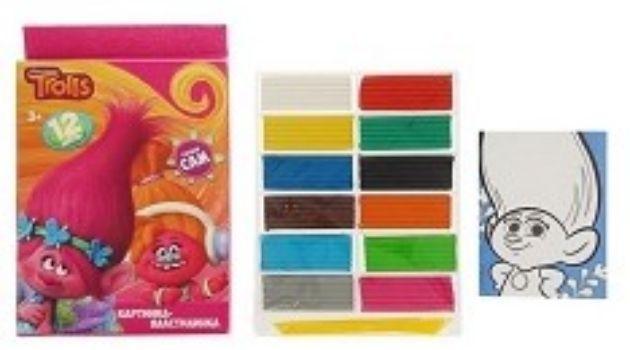 Картинка-пластилинка Тролли, 12 цв.Лепка<br>Набор для лепки и моделирования Тролли - оригинальный вид творчества, развивающий мелкую моторику пальчиков и воображение.Состав набора: пластилин 12 цветов, картонный шаблон с рисунком, стека.Для детей от 4-х лет.<br><br>Год: 2017<br>Высота: 200<br>Ширина: 145<br>Толщина: 12