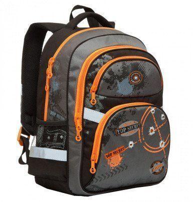 Рюкзак школьный Grizzly, черно-оранжевыйРюкзаки, ранцы, сумки<br>Рюкзак школьный, два отделения, два объемных кармана на молнии на передней стенке, боковые карманы из сетки, внутренний подвесной карман на молнии, внутренний составной пенал-органайзер, откидное жесткое дно, жесткая анатомическая спинка, дополнительная р...<br><br>Год: 2017