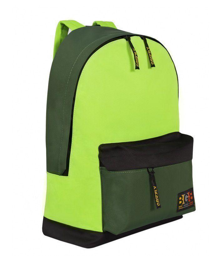 Рюкзак Grizzly, черно-салатовыйРюкзаки, ранцы, сумки<br>Рюкзак молодежный, городской, одно отделение, объемный карман на молнии на передней стенке, внутренний карман для электронных устройств, укрепленная спинка, дополнительная ручка-петля, укрепленные лямки.Размеры: 32х47х17 см.Материал: таслан.Цвет: черно-са...<br><br>Год: 2016