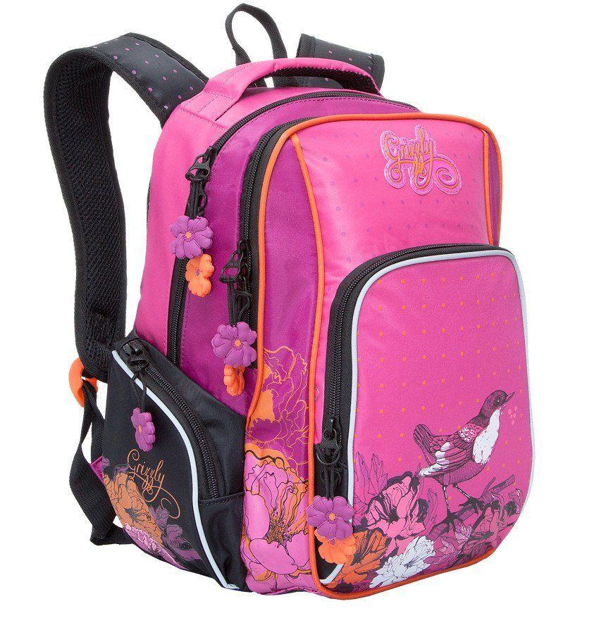 Рюкзак школьный Grizzly, черно-розовыйРюкзаки, ранцы, сумки<br>Рюкзак школьный, два отделения, объемный карман на молнии на передней стенке, объемные боковые карманы на молнии, внутренний карман, внутренний подвесной карман на молнии, откидное жесткое дно, жесткая анатомическая спинка, мягкая укрепленная ручка, укреп...<br><br>Год: 2017