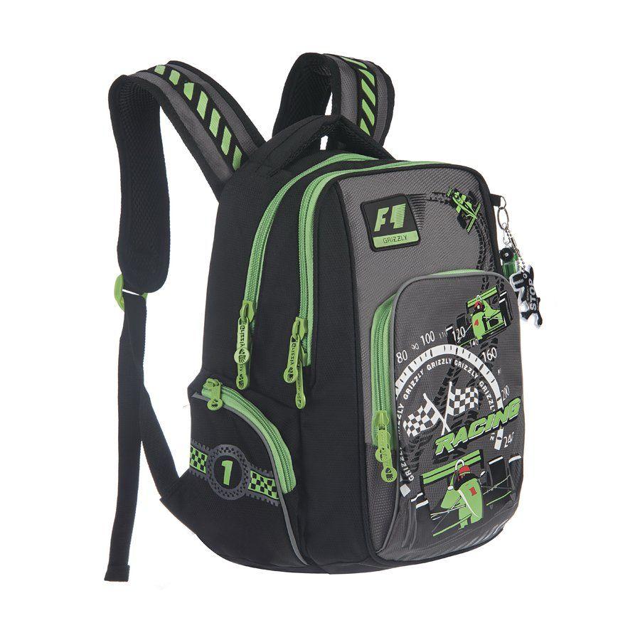 Рюкзак школьный Grizzly, черно-салатовыйРюкзаки, ранцы, сумки<br>Рюкзак школьный, два отделения, объемный карман на молнии на передней стенке, объемные боковые карманы на молнии, внутренний карман, внутренний подвесной карман на молнии, откидное жесткое дно, жесткая анатомическая спинка, мягкая укрепленная ручка, укреп...<br><br>Год: 2017