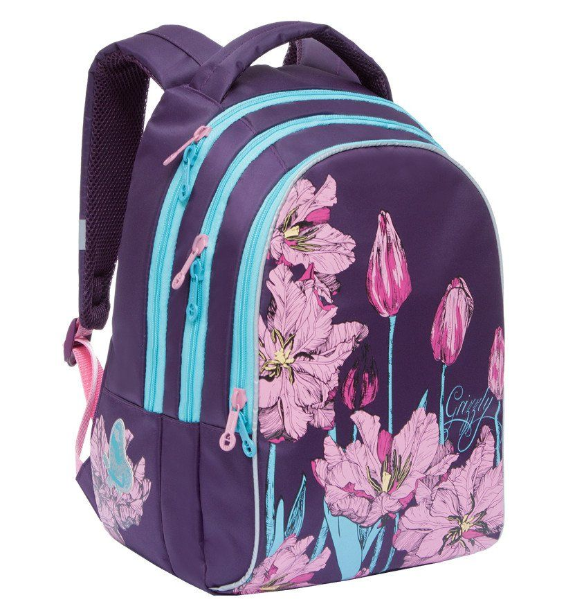 Рюкзак школьный Grizzly, фиолетовыйРюкзаки, ранцы, сумки<br>Рюкзак молодежный, три отделения, внутренний карман на молнии, внутренний карман-пенал для карандашей, жесткая анатомическая спинка, мягкая укрепленная ручка, укрепленные лямки, светоотражающие элементы с четырех сторон.Размеры: 28х41х20 см.Материал: нейл...<br><br>Год: 2017