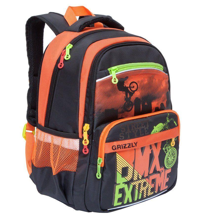 Рюкзак школьный Grizzly, черно-оранжевыйРюкзаки, ранцы, сумки<br>Рюкзак школьный, два отделения, два передних кармана на молнии, объемный карман на молнии на передней стенке, боковые карманы из сетки, внутренний карман, жесткая анатомическая спинка, дополнительная ручка-петля, мягкая укрепленная ручка, укрепленные лямк...<br><br>Год: 2017