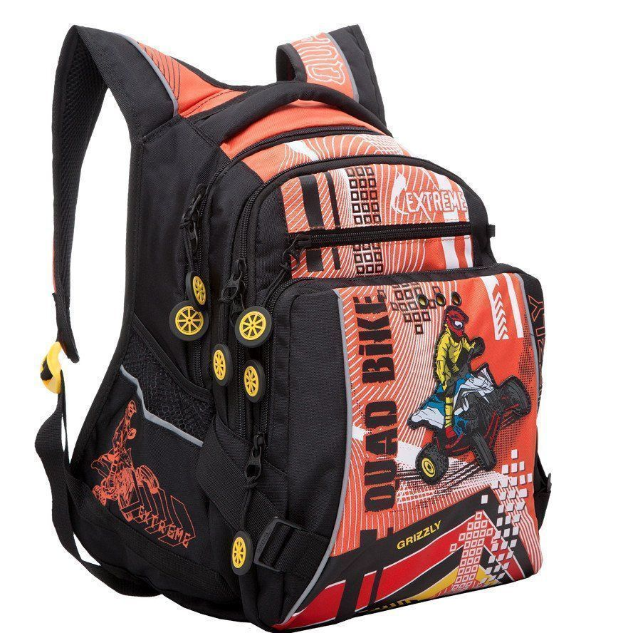 Рюкзак школьный Grizzly, черно-оранжевыйРюкзаки, ранцы, сумки<br>Рюкзак школьный, два отделения, карман на молнии на передней стенке, объемный карман на молнии на передней стенке, боковые карманы из сетки, внутренний карман на молнии, внутренний карман-пенал для карандашей, откидное жесткое дно, анатомическая спинка, м...<br><br>Год: 2016