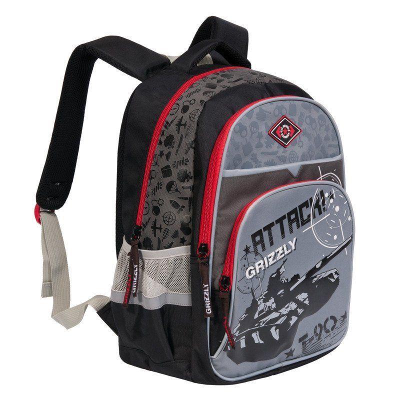 Рюкзак школьный Grizzly, черно-серыйРюкзаки, ранцы, сумки<br>Рюкзак школьный, два отделения, карман на молнии на передней стенке, объемный карман на молнии на передней стенке, боковые карманы из сетки, внутренний подвесной карман на молнии, внутренний составной пенал-органайзер, откидное жесткое дно, жесткая анатом...<br><br>Год: 2016