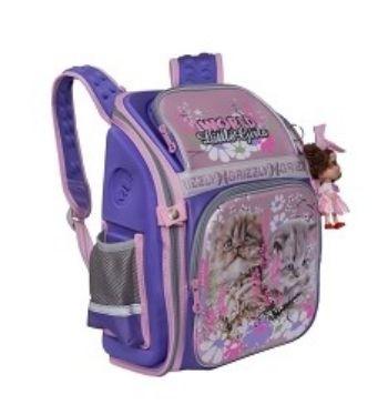Рюкзак школьный Grizzly, лиловыйРюкзаки, ранцы, сумки<br>Рюкзак школьный, одно отделение, два объемных кармана на молнии на передней стенке, боковые карманы из сетки, внутренний карман-пенал для карандашей, внутренний составной пенал-органайзер, жесткая анатомическая спинка, дополнительная ручка-петля, укреплен...<br><br>Год: 2017<br>Высота: 370<br>Ширина: 300<br>Толщина: 160