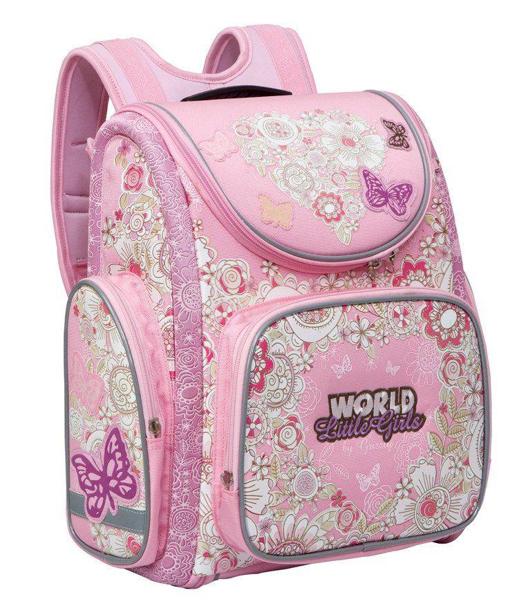 Рюкзак школьный Grizzly, розовыйРюкзаки, ранцы, сумки<br>Рюкзак школьный, одно отделение, объемный карман на молнии на передней стенке, объемные боковые карманы на молнии, внутренний составной пенал-органайзер, жесткая анатомическая спинка, дополнительная ручка-петля, эластичные лямки, брелок-игрушка, светоотра...<br><br>Год: 2015<br>Высота: 370<br>Ширина: 340<br>Толщина: 180