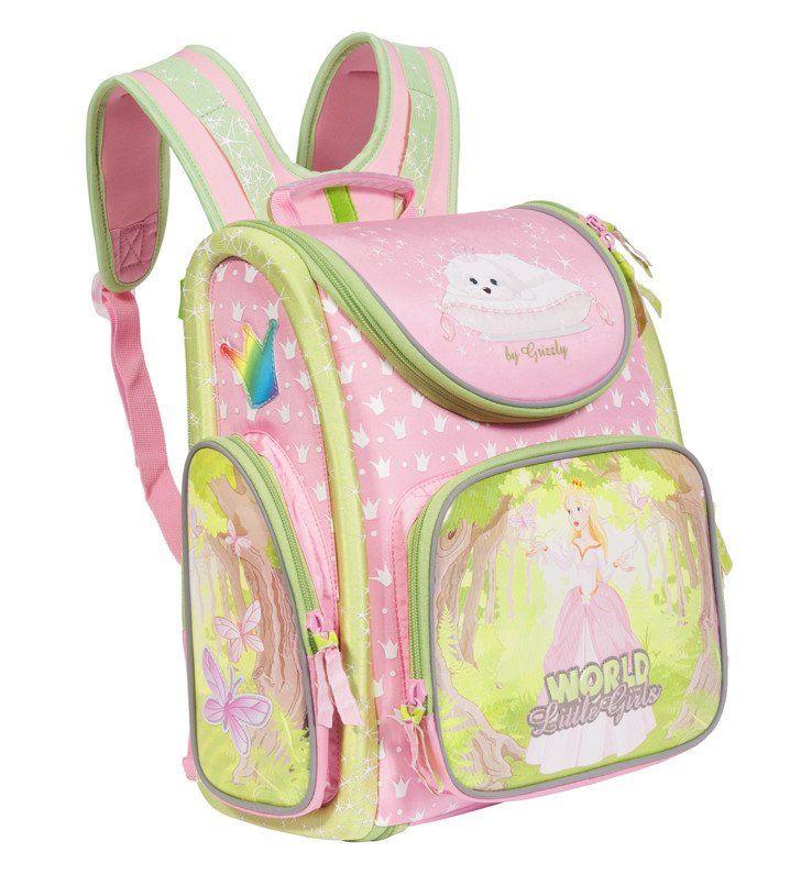 Рюкзак школьный Grizzly, розовыйРюкзаки, ранцы, сумки<br>Рюкзак школьный, одно отделение, объемный карман на молнии на передней стенке, объемные боковые карманы на молнии, внутренний составной пенал-органайзер, жесткая анатомическая спинка, дополнительная ручка-петля, эластичные лямки, брелок-игрушка, светоотра...<br><br>Год: 2017<br>Высота: 370<br>Ширина: 340<br>Толщина: 180