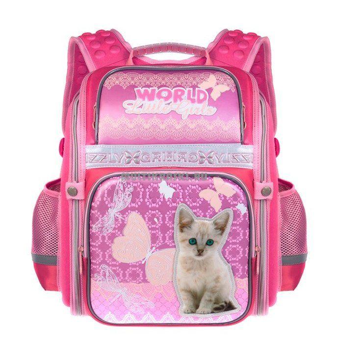 Рюкзак школьный Grizzly, темно-розовыйРюкзаки, ранцы, сумки<br>Рюкзак школьный, одно отделение, два объемных кармана на молнии на передней стенке, боковые карманы из сетки, внутренний карман-пенал для карандашей, внутренний составной пенал-органайзер, жесткая анатомическая спинка, дополнительная ручка-петля, укреплен...<br><br>Год: 2015<br>Высота: 270<br>Ширина: 300<br>Толщина: 160