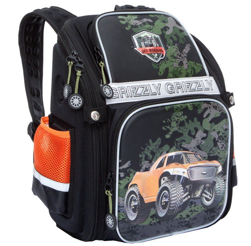 Рюкзак школьный Grizzly, черныйРюкзаки, ранцы, сумки<br>Рюкзак школьный, одно отделение, два объемных кармана на молнии на передней стенке, боковые карманы из сетки, внутренний карман-пенал для карандашей, внутренний составной пенал-органайзер, жесткая анатомическая спинка, дополнительная ручка-петля, укреплен...<br><br>Год: 2017<br>Высота: 370<br>Ширина: 300<br>Толщина: 160