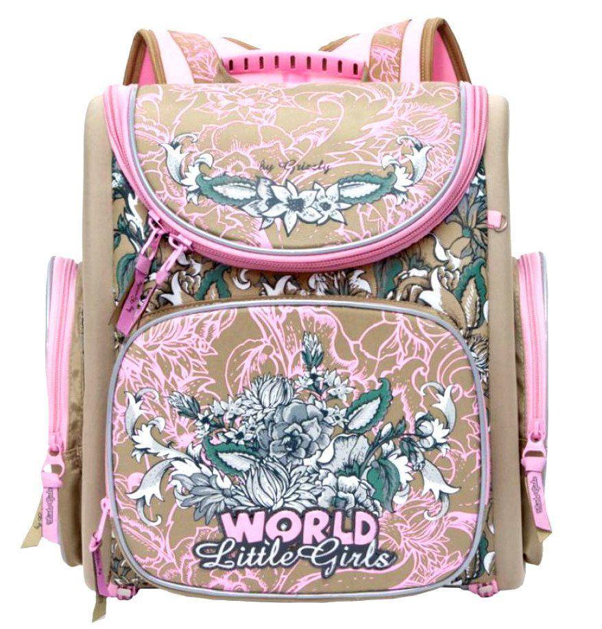Рюкзак школьный Grizzly, бежево-розовыйРюкзаки, ранцы, сумки<br>Рюкзак, одно отделение, объемный карман на молнии на передней стенке, объемные боковые карманы на молнии, внутренний составной пенал-органайзер, жесткая анатомическая спинка, дополнительная ручка-петля, эластичные лямки, брелок-игрушка, светоотражающие эл...<br><br>Год: 2017<br>Высота: 370<br>Ширина: 340<br>Толщина: 180