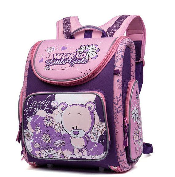 Рюкзак школьный Grizzly, фиолетово-розовыйРюкзаки, ранцы, сумки<br>Рюкзак школьный, одно отделение, объемный карман на молнии на передней стенке, объемные боковые карманы на молнии, внутренний составной пенал-органайзер, жесткая анатомическая спинка, дополнительная ручка-петля, эластичные лямки, брелок-игрушка, светоотра...<br><br>Год: 2017<br>Высота: 370<br>Ширина: 340<br>Толщина: 180