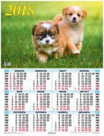 Календарь настенный Год собаки 1 2018Календарь-плакат<br>Вашему вниманию предлагается настенный календарь на 2018 год.Формат А2.<br><br>Год: 2017<br>Высота: 585<br>Ширина: 440<br>Толщина: 1