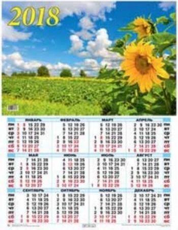 Календарь настенный Подсолнух 2018Календарь-плакат<br>Вашему вниманию предлагается настенный календарь на 2018 год.Формат А2.<br><br>Год: 2017<br>Высота: 585<br>Ширина: 440<br>Толщина: 1