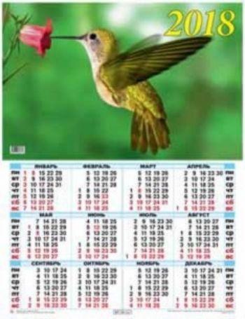 Календарь настенный Колибри 2018Календарь-плакат<br>Вашему вниманию предлагается настенный календарь на 2018 год.Формат А2.<br><br>Год: 2017<br>Высота: 585<br>Ширина: 440<br>Толщина: 1