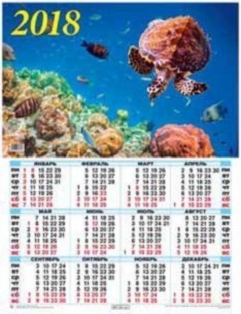Календарь настенный Коралловый риф 2018Календарь-плакат<br>Вашему вниманию предлагается настенный календарь на 2018 год.Формат А2.<br><br>Год: 2017<br>Высота: 585<br>Ширина: 440<br>Толщина: 1