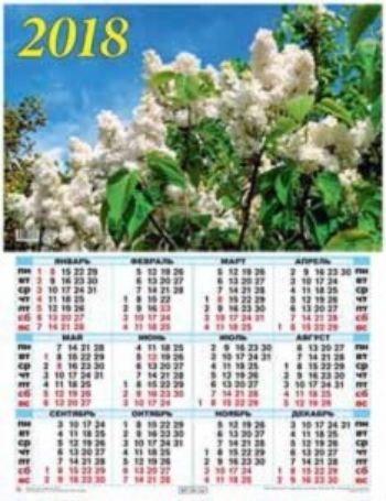 Календарь настенный Белая сирень 2018Календарь-плакат<br>Вашему вниманию предлагается настенный календарь на 2018 год.Формат А2.<br><br>Год: 2017<br>Высота: 585<br>Ширина: 440<br>Толщина: 1