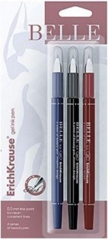 Набор гелевых ручек, 3 цв.Ручки<br>Размер ручки: 13,5 см.Цвет чернил: красный, синий, черный.Упаковка: блистер.<br><br>Год: 2017<br>Высота: 190<br>Ширина: 85<br>Толщина: 10