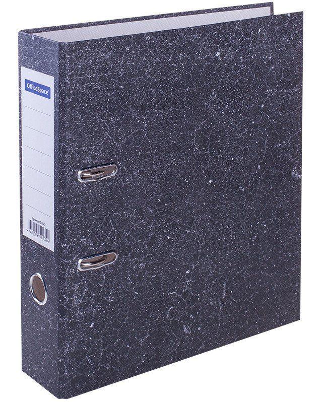 Папка-регистратор OfficeSpacе, мраморный, черныйПапки<br>Папка-регистратор с арочным механизмом и покрытием мрамор. Предназначена для хранения документов и папок-вкладышей с перфорацией. Формат А4. Этикетка на корешке для маркировки. Долговечный механизм. Цвет - черный мрамор. Ширина 80 мм.Покрытие: картон ...<br><br>Год: 2018<br>Высота: 285<br>Ширина: 160<br>Толщина: 50