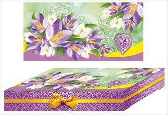 Подарочная коробка С 8 Марта!Подарочная упаковка, сумочки, пакеты<br>Яркая упаковка для подарка.Материал: картон.<br><br>Год: 2015<br>Высота: 100<br>Ширина: 204<br>Толщина: 35