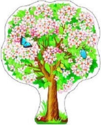Плакат вырубной Яблоня весенняяВырубные фигуры<br>.<br><br>Год: 2017<br>Высота: 500<br>Ширина: 350<br>Толщина: 1
