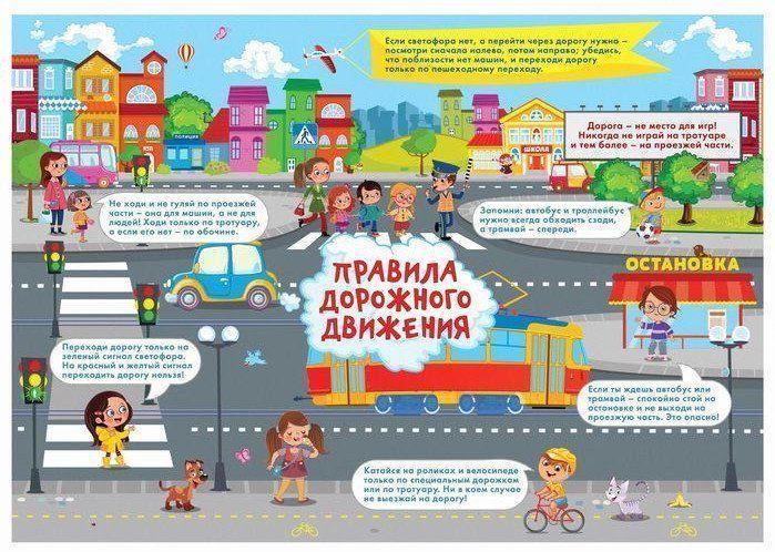 Плакат обучающий Правила дорожного движенияТематические плакаты<br>Обучающий плакат познакомит детей с правилами дорожного движения.Формат А3.Материал: бумага.<br><br>Год: 2017<br>Высота: 300<br>Ширина: 420<br>Толщина: 1