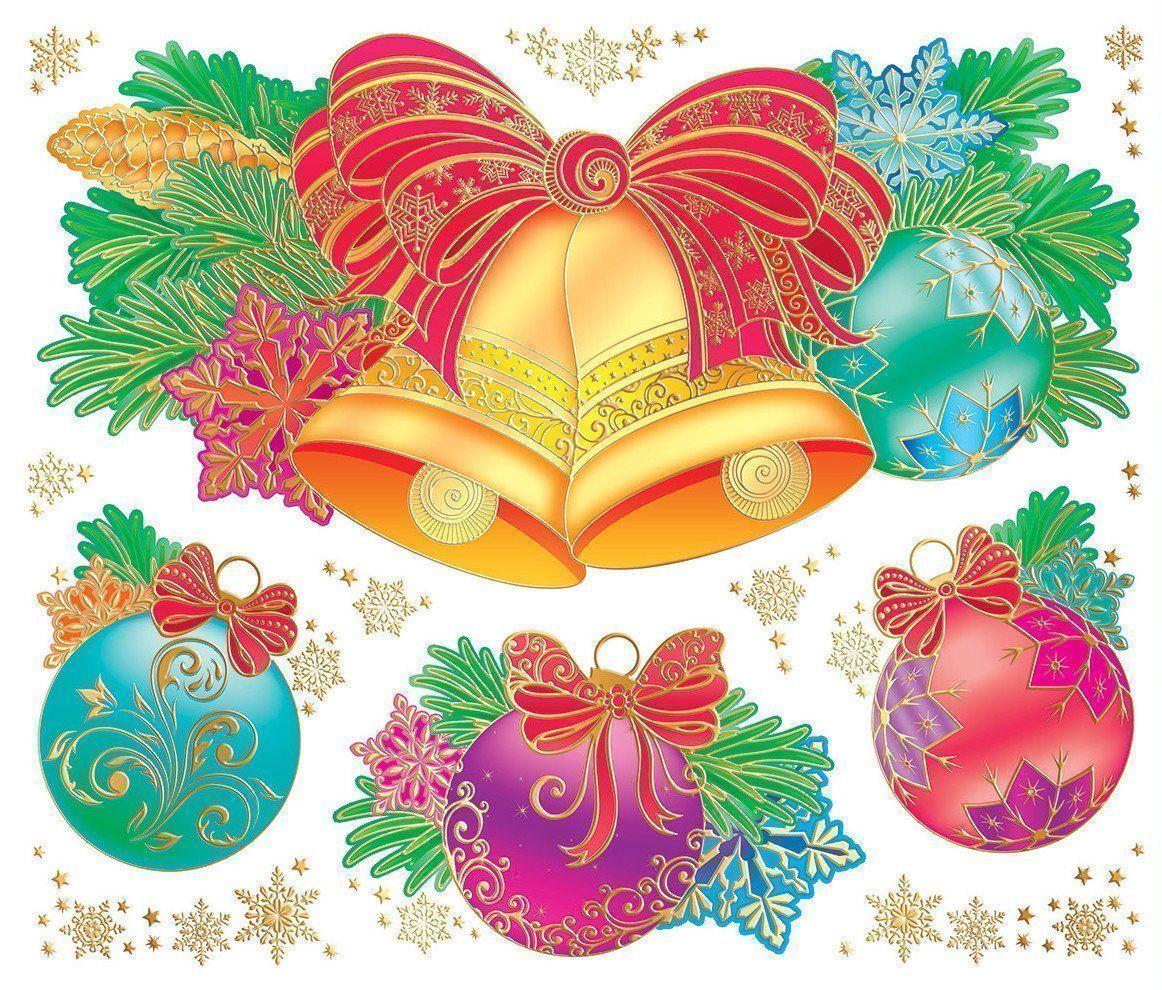 Наклейки витражные Новогодние игрушкиНаклейки для интерьера, окна<br>Многоразовые наклейки предназначены для украшения интерьеров, подарков и оформления детских праздников. Крепятся на чистую, ровную поверхность.Материал: пленка ПВХ.<br><br>Год: 2016<br>Высота: 330<br>Ширина: 240<br>Толщина: 1