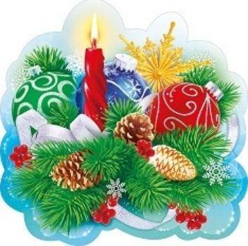 Украшение на скотче Новогодняя композицияТовары для оформления и проведения праздника<br>Мини-плакат украшен блестками.Материал: картон.<br><br>Год: 2016<br>Высота: 300<br>Ширина: 300<br>Толщина: 1