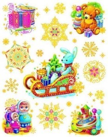 Новогоднее оконное украшение Зайчик на санях и игрушкиНаклейки для интерьера, окна<br>Оконное украшение поможет вам украсить свой дом к предстоящим праздникам. Цветные изображения нанесены на прозрачную клейкую пленку. Декорировано глиттером (блёстками). Крепится к гладкой поверхности стекла посредством статического эффекта.С помощью таких...<br><br>Год: 2016<br>Высота: 380<br>Ширина: 300<br>Толщина: 1