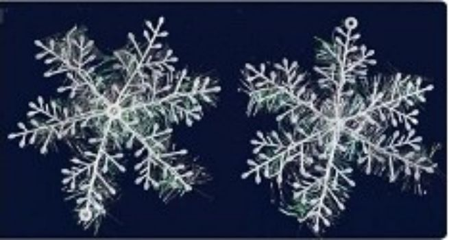 Набор пластиковых украшений Снежинки с люрексомГирлянды, мишура, дождик<br>В наборе 2 снежинки диаметром 25 см., цвет белый.Состав: ПВХ.<br><br>Год: 2016<br>Высота: 250<br>Ширина: 250<br>Толщина: 2