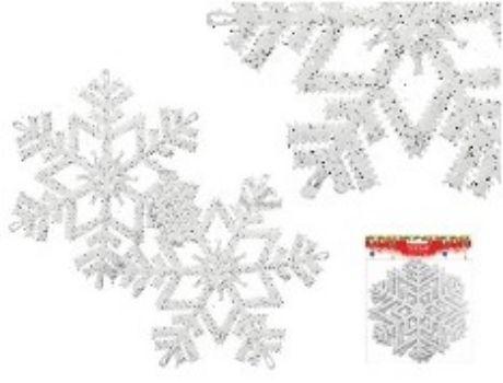 Набор пластиковых украшений СнежиинкиГирлянды, мишура, дождик<br>В наборе 2 снежинки с блестками, диаметр 16 см., цвет белый.Состав: ПВХ.<br><br>Год: 2016<br>Высота: 160<br>Ширина: 160<br>Толщина: 3