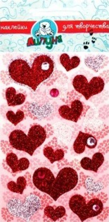 Наклейки блестящие Розовые сердцаУкрашения своими руками<br>Блестящие наклейки предназначены для детского творчества и декорирования различных поверхностей, не оставляют следов на одежде.Состав: полипропиленовые смолы и другие полимерные материалы.Возраст: с 3-х лет.<br><br>Год: 2017<br>Высота: 120<br>Ширина: 80<br>Толщина: 2