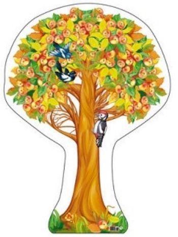 Плакат вырубной Яблоня осенняя с яблокамиВырубные фигуры<br>.<br><br>Год: 2017<br>Высота: 500<br>Ширина: 350<br>Толщина: 1