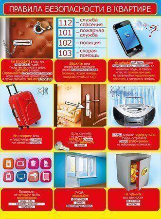Плакат Правила безопасности в квартиреОформительские плакаты<br>Формат А2.Материал: картон.<br><br>Год: 2017<br>Высота: 600<br>Ширина: 440<br>Толщина: 1