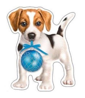 Плакат вырубной Собачка новогодняяОформительские плакаты<br>Мини-плакат вырубной.<br><br>Год: 2017<br>Высота: 253<br>Ширина: 200<br>Толщина: 1