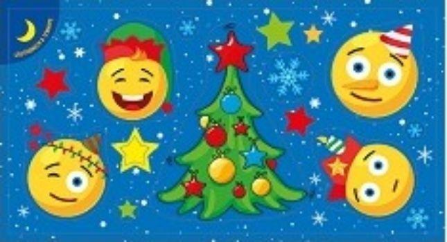 Наклейки новогодние СмайлыНаклейки для интерьера, окна<br>Наклейки светятся в темноте.<br><br>Год: 2017<br>Высота: 80<br>Ширина: 150<br>Толщина: 1